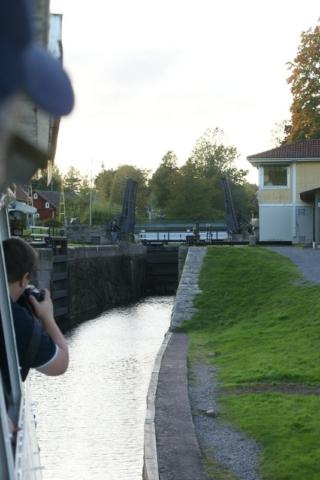 Locks at Göta Kanal by River boat